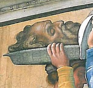 Sixtus kápolna freskó -részlet, Holofernész fejével