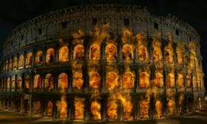 A római Colosseum lángokban