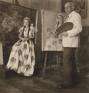 Gebauer Ernő és modellje a műteremben (forrás: pannonklaszter.hu)