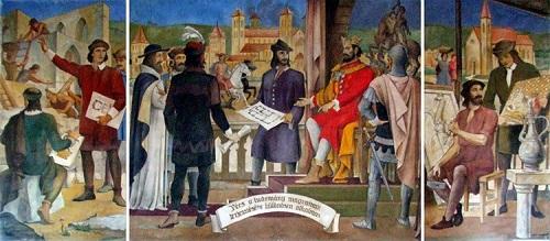 Gebauer Ernő freskója a pécsi Nagy Lajos Gimnáziumban (pannonklaszter.hu)