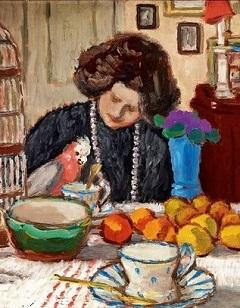 Rippl-Rónai József: Lazarine papagájjal, 1905 (részlet)