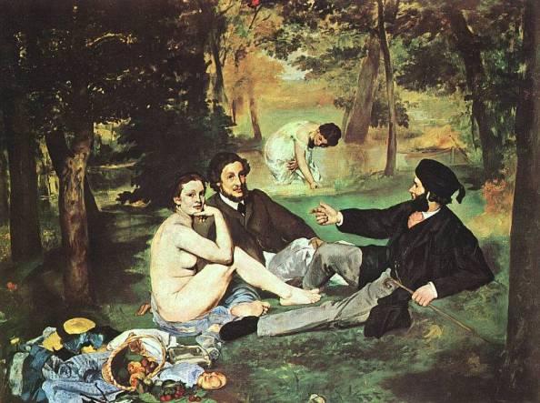 Monet: Reggeli a szabadban – a botránykő (Rákattintva nagy méretben jelenik meg)
