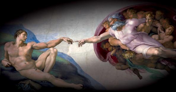 Michelangelo: Ádám teremtése (a Sixtus-kápolna mennyezetfreskója)