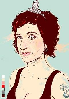Sylwia Chutnik a Lampa folyóirat címlapján (Agata Nowicka grafikája)