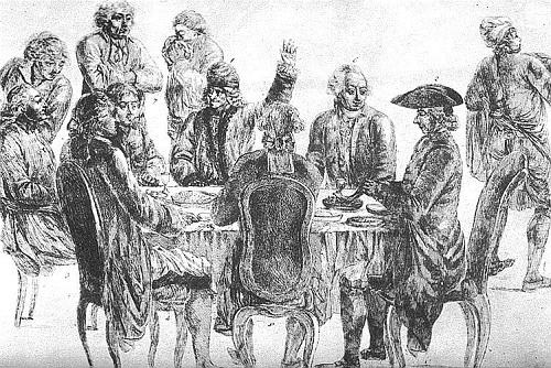 A Café Procope-ban balról jobbra Condorcet, La Harpe, Voltaire (felemelt karral) és Diderot