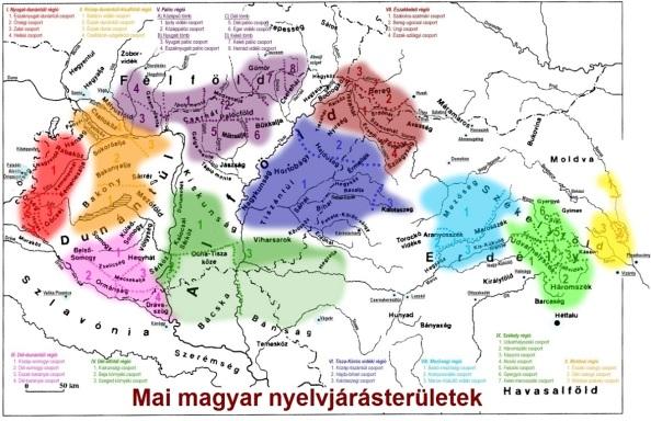 A mai magyar nyelvjárásterületek a térképen (Ha rákattintasz, nagyban láthatod)