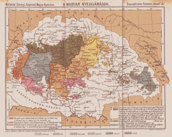 A magyar nyelvjárások egy 1905-ben készült térképen (Ha rákattintasz, nagyban láthatod)