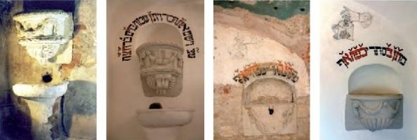 Kézmosó az előcsarnokban, melynek felirata is előkerül | A persely talált és restaurált állapotban