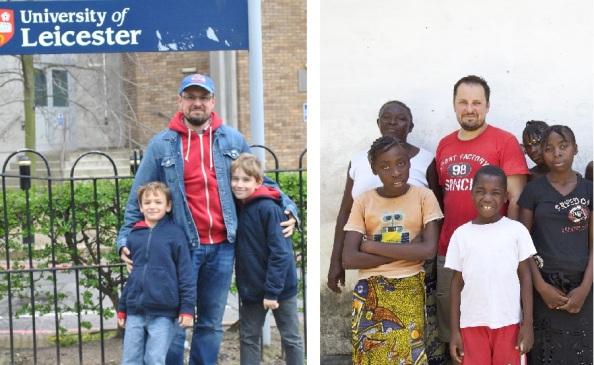 Saját fiaival (Iván és Áron) Leicesterben, és a kinshasai (Kongó) árvaház gyerekeivel (NyM)