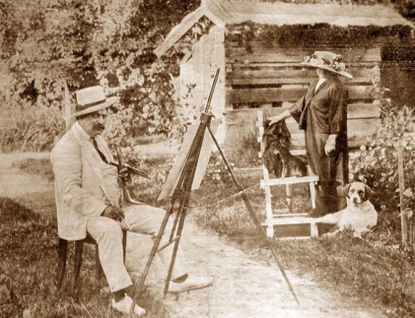 A művész és felesége a Róma-villa méhesháza előtt 1911-ben