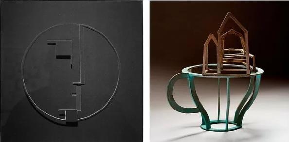Jederán György: Hommage à Oskar Schlemmer. Bauhaus logó, 2019; Gaál Tamás: Tárgyjáték VI., 2017
